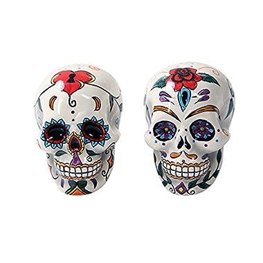 Day Of The Dead Skulls Salt Pepper Shakers Figurine Home Decor