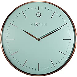 NEXTIME Unek Goods Glamour Metal Dome Wall Clock | 15.75 Diameter | Aluminum and Glass | Turquoise and Rose Gold | Battery Operated