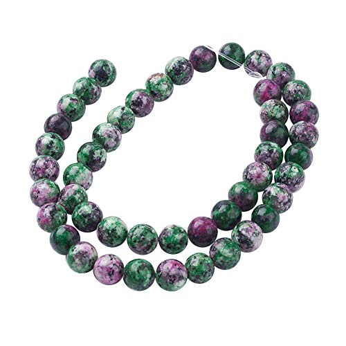 (PH PandaHall 5 Strands 8mm Natural Ruby Zoisite Gemstone Round Loose Stone Beads for Jewelry Making 15.7