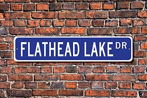 (Fhdang Decor Flathead Lake, Flathead Lake Sign, Flathead Lake Visitor, Lake Lover, Montana Lake, Lake Fan Gift, Custom Street Sign, Metal Sign,4