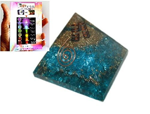 (Jet Exquisite A++ Blue Chakra Orgone Pyramid Free Booklet Jet International Crystal Therapy Crystal Gemstones Copper Metal Mix Rare)