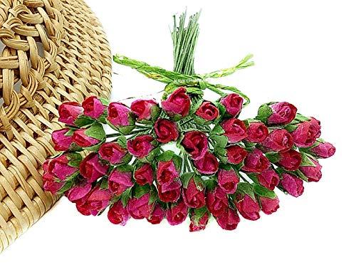 NAVA CHIANGMAI Mini Rose Bud Mulberry Flower Paper, Wedding Flowers, Wedding Decoration Artificial Flowers Crafts,Mulberry Flowers, Paper Rose Buds, DIY Bouquet, Scrapbooking Flowers (Shocking Pink)]()