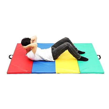 4 Folding Gymnastics Mat Yoga Exercise Gym Airtrack Panel ...