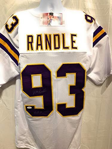 John Randle Minnesota Vikings - John Randle Minnesota Vikings Signed Autograph White Custom Jersey HOF Inscribed JSA Witnessed Certified