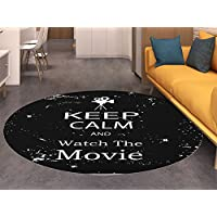 Keep Calm Dining Room Home Bedroom Carpet Floor Mat Watch the Movie Quote for Film Buffs Grungy Weathered Backdrop with Old Camera Non Slip rug Black White