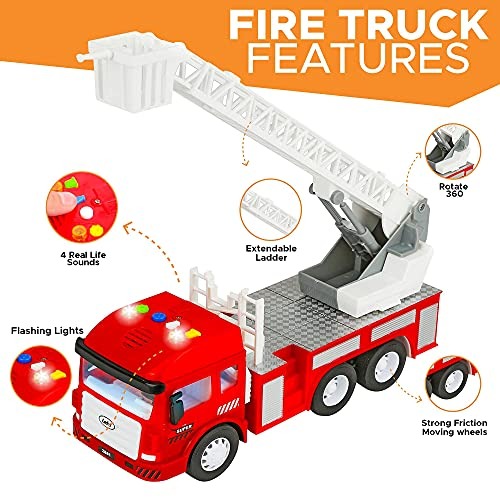 Toy Fire Truck with Lights and Sounds - 4 Sirens - Extending Ladder - Powerful Friction Rolling - Firetruck Fire Engine for Toddlers & Kids