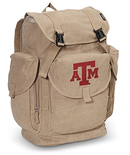 Texas A&M LARGE Canvas Backpack TAMU Aggies School or Travel Bag by Broad Bay