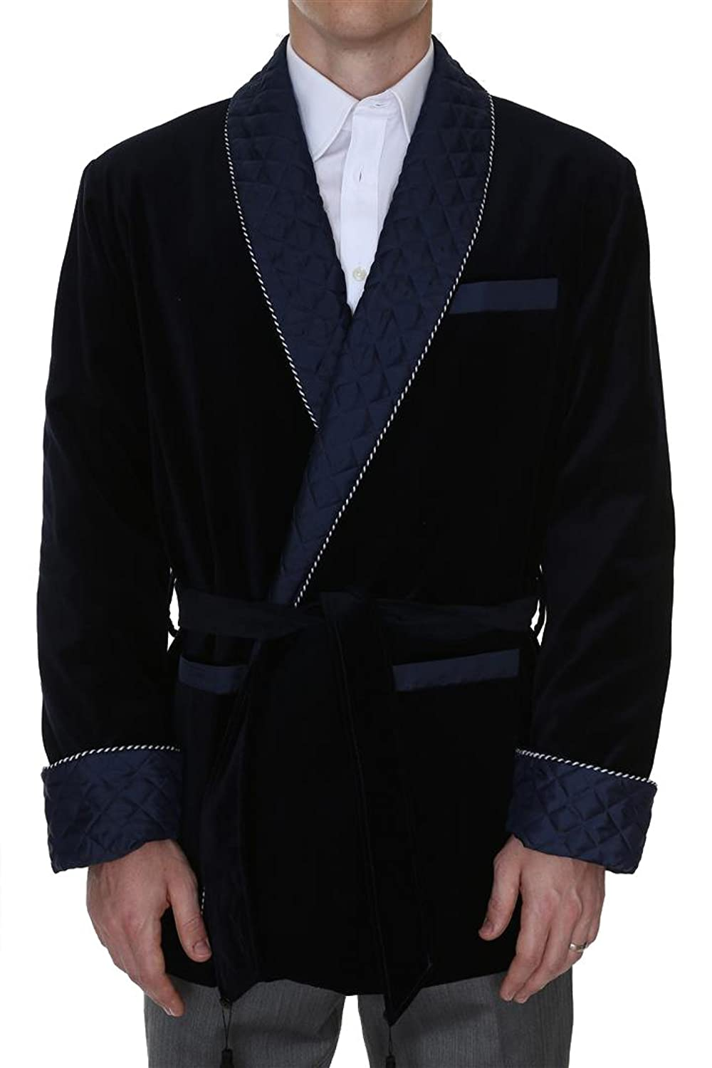 1900s Edwardian Men's Suits and Coats Mens Smoking Jacket Bartholomew Navy $399.95 AT vintagedancer.com