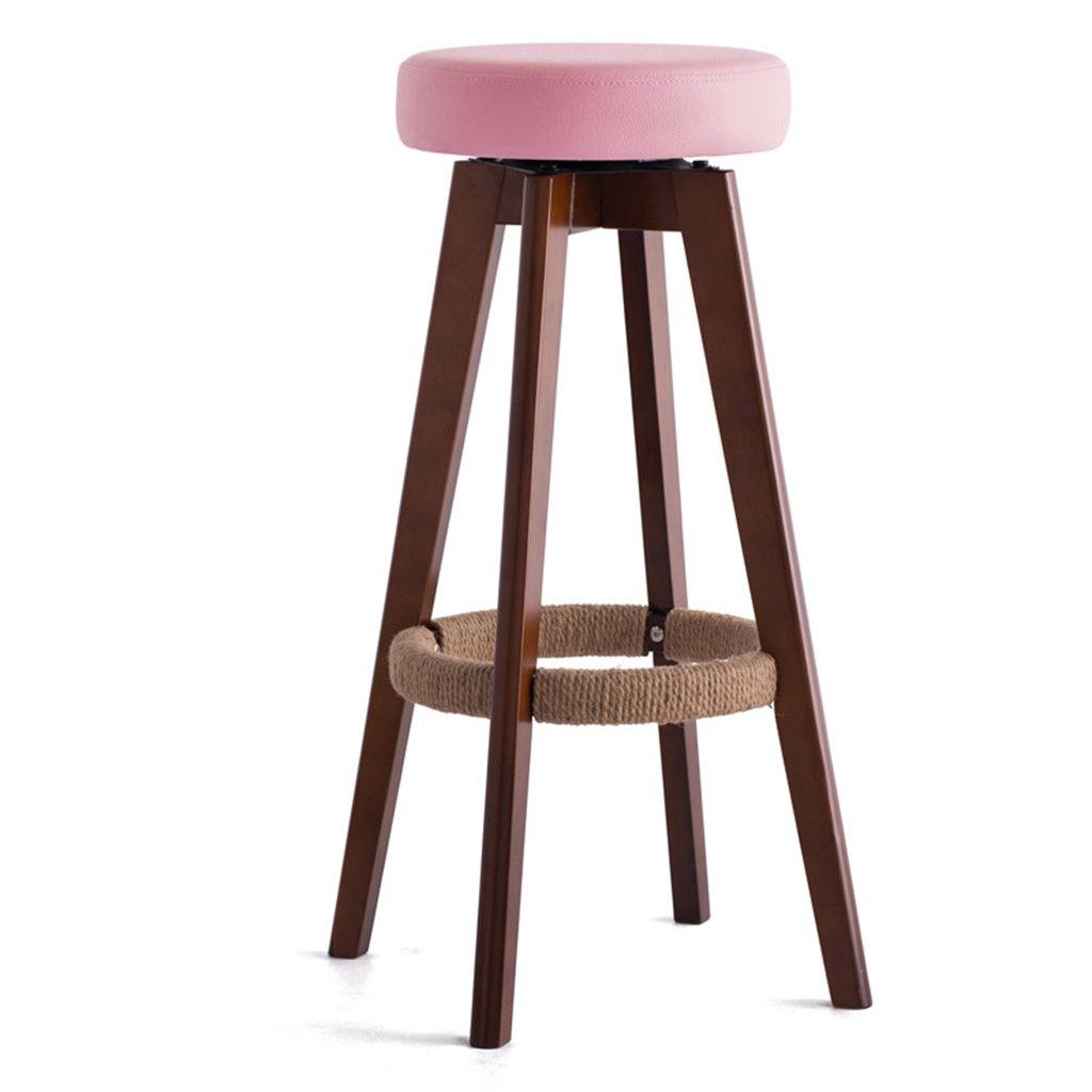 スツールモダン、シンプル、ソリッドウッド、レザークッション、回転できるバークリエイティブハイチェアヨーロピアンスタイルの木製の椅子ヴィンテージバースツールの高さ65.5cm (色 : ピンク ぴんく, サイズ さいず : 65 cm 65 cm) B07CH7YXLJ 65 cm 65 cm|ピンク ぴんく ピンク ぴんく 65 cm 65 cm