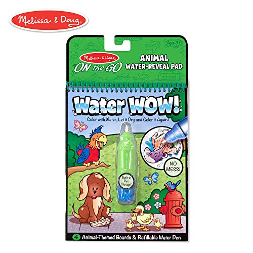 Melissa & Doug Water Coloring & Painting Book,  (Water Wow Animal - On the Go Travel -