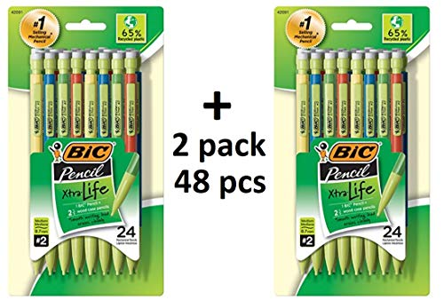 (BIC MPEP241-Blk Ecolutions Xtra-Life Mechanical Pencil, Medium Point (0.7mm), 48-Count)