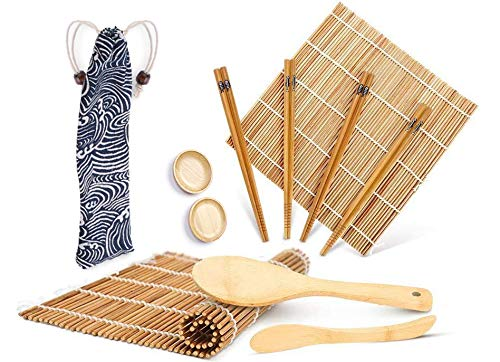 Sushi Making Kit Bamboo Tool - Including 2 Sushi Rolling Mats, 4 Pairs of Chopsticks, 1 Paddle, 1 Spreader, 2 Sauce Dish for Beginner Sushi Kit