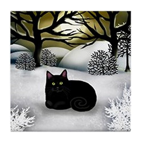 CafePress - BLACK CAT WINTER SUNSET Tile Coaster - Tile Coaster, Drink Coaster, Small (Cat Tile Coaster)