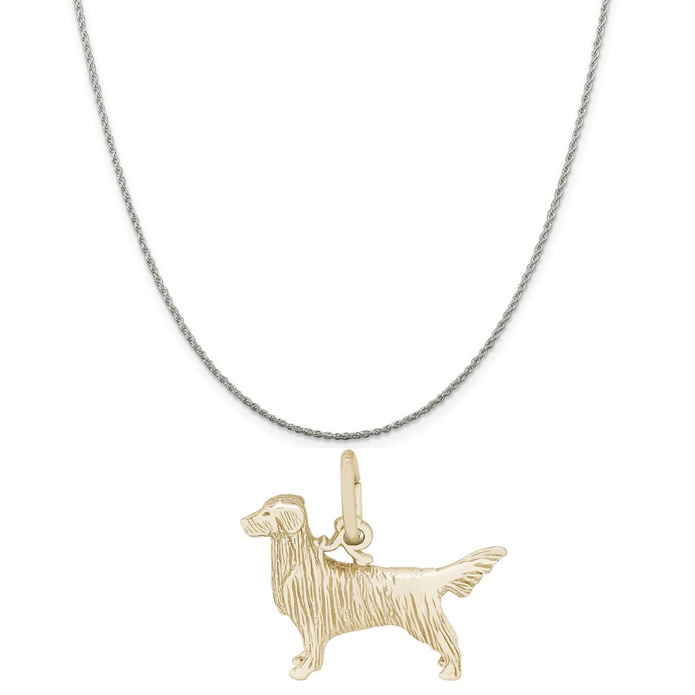 18 or 20 inch Rope Rembrandt Charms Two-Tone Sterling Silver Retriever Dog Charm on a Sterling Silver 16 Box or Curb Chain Necklace