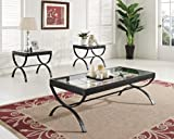 ACME 80077 3-Piece Quintin Coffee/End Table Set, Black