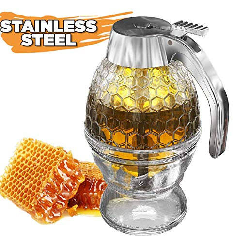 Best Honey Dispenser No Drip Glass with Stainless Steel Top - Syrup Dispenser Glass - Beautiful Honey Pot - Honey Jar with Stand by Hunnibi