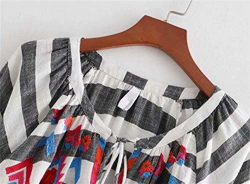 lunga Colorful Vestito a Abito Abito Vestito girocollo festa nappe Abito maniche lunghe manica Vestito Moda quotidiano a da Abito righe con rBRfBwY1q