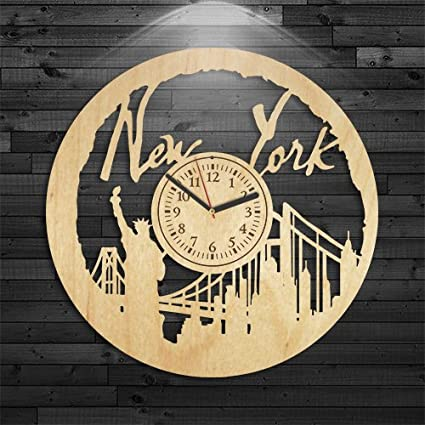 New York Wood Clock Travel Gift For Men Wall