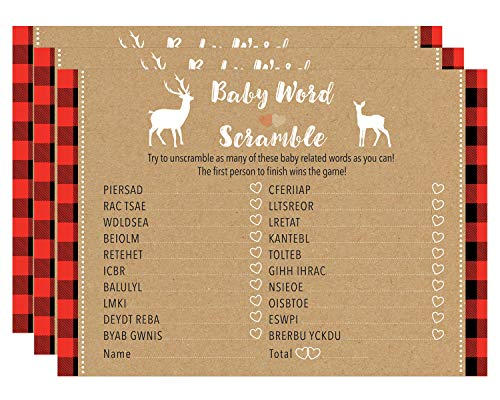 Rustic Woodland Buffalo Plaid Baby Shower Word Scramble Game - 24 Count -