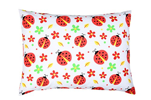 YourEcoFamily Toddler Pillow-14x19,Certified Organic Shell w/Organic Cotton Pillowcase -Soft,Colorful, Naturally Hypoallergenic (Ladybug)