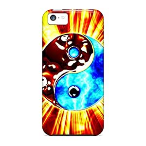 New Tpu Hard Case Premium Iphone 5c Skin Case Cover(yingyang)
