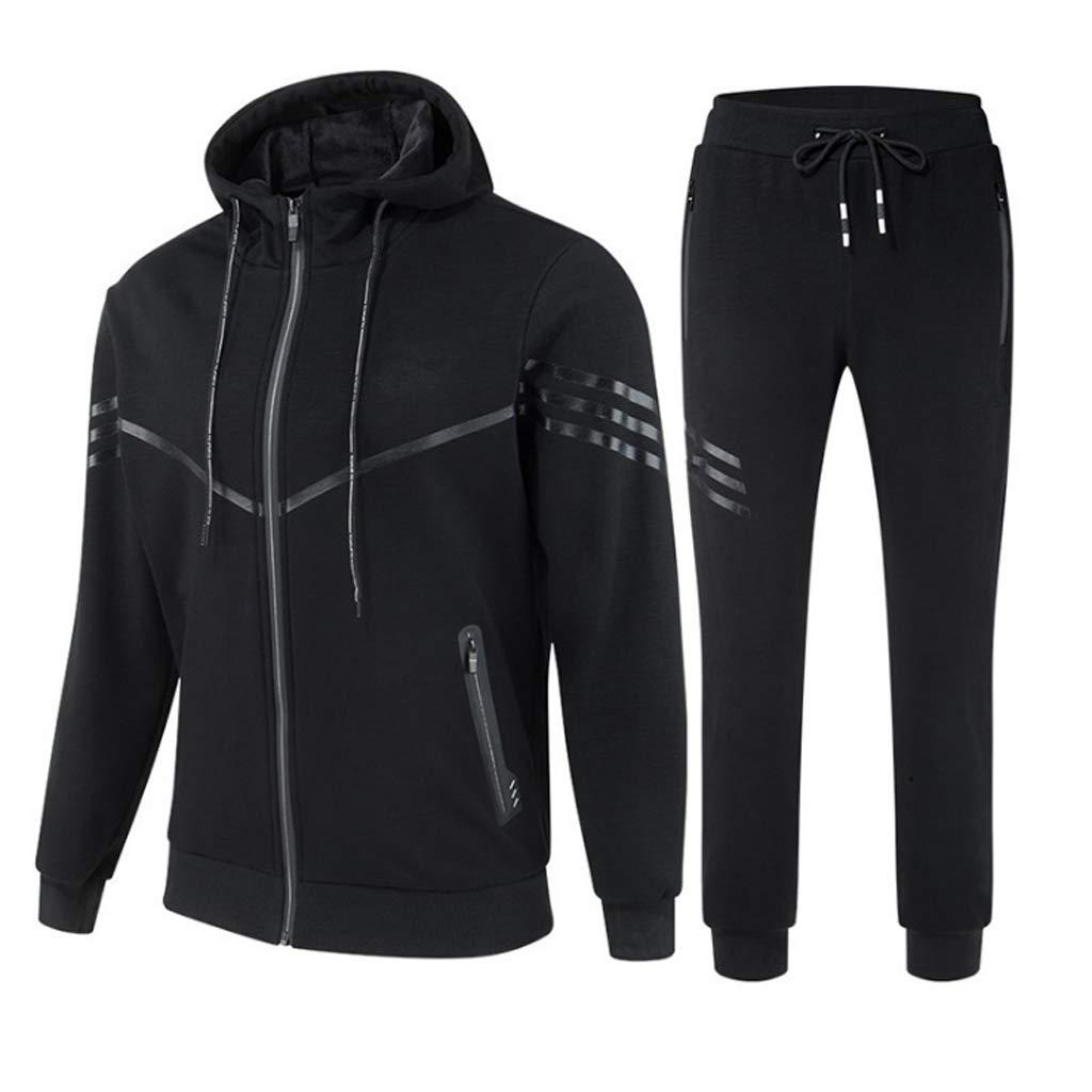 Lilongjiao Herren Kapuzenpullover gerippte Jogginghose Reißverschlussfach Sportswear Casual Sportswear zweiteilig