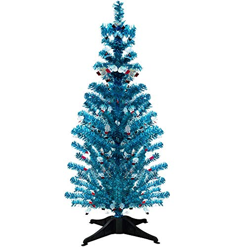 YuQi 5 Ft Pop up Artificial Tinsel Trees Collapsible with Stand and Snowmen, 50%,Reusable for Christmas,Party,Next New Year,Wedding, Seasonal Home Décor & Party(Snowman)