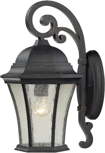 Elk 45051/1 9 by 17-Inch Wellington Park 1-Light Outdoor Wall Sconce with Seedy Glass Shade, Weathered Charcoal Finish ()