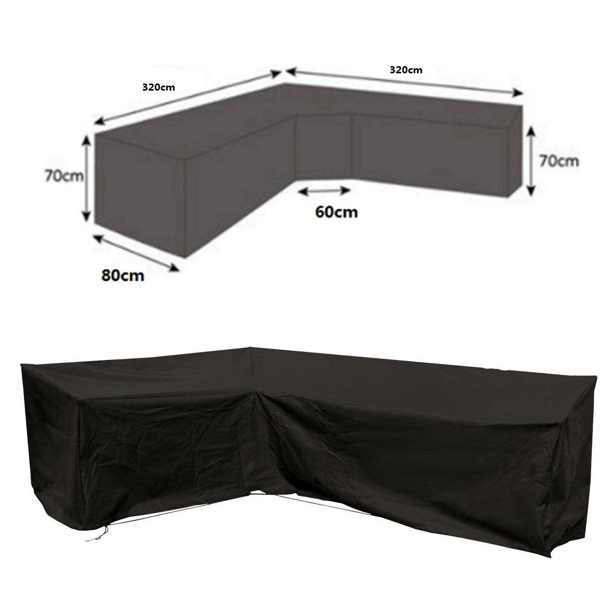 dDanke Patio L Shape Sofa Covers Universal Sectional Furniture Cover with Locking Rope Waterproof Dustproof 320x320cm by dDanke