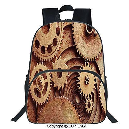 SCOXIXI Backpack Inside The Clocks Theme Gears Mechanical Copper Device Steampunk Style Print (15.75