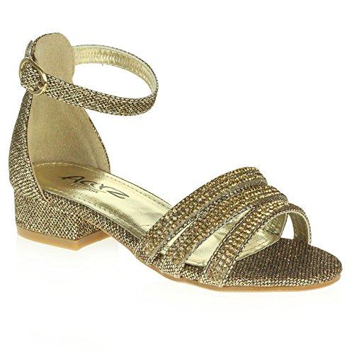 AARZ LONDON Mädchen Kinder Sparkly Diamant Abend Party Komfort Blockabsatz Sandalen Schuhe Größe Braun
