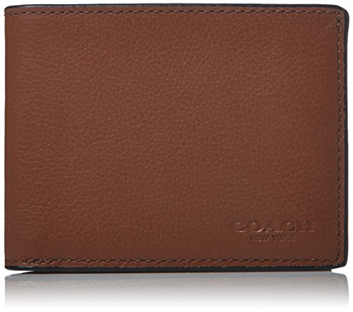 COACH Leather Slim Billfold USW Box Set Dark Saddle One Size