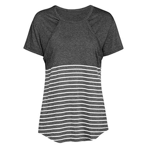 incinto T Allattamento infermieristica Amlaiworld shirt Top Scuro camicetta incinta maternità manica corta Regalo Grigio Stripe per Donne OXqwCq7