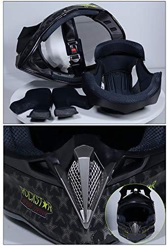 ZJRA Muc-off Print, Casco da Motocross per Adulto con Occhiali Maschera per Guanti Maschera per Casco Net, Caschi Integrali per Crash off Road Downhill, DOT,M57~58cm