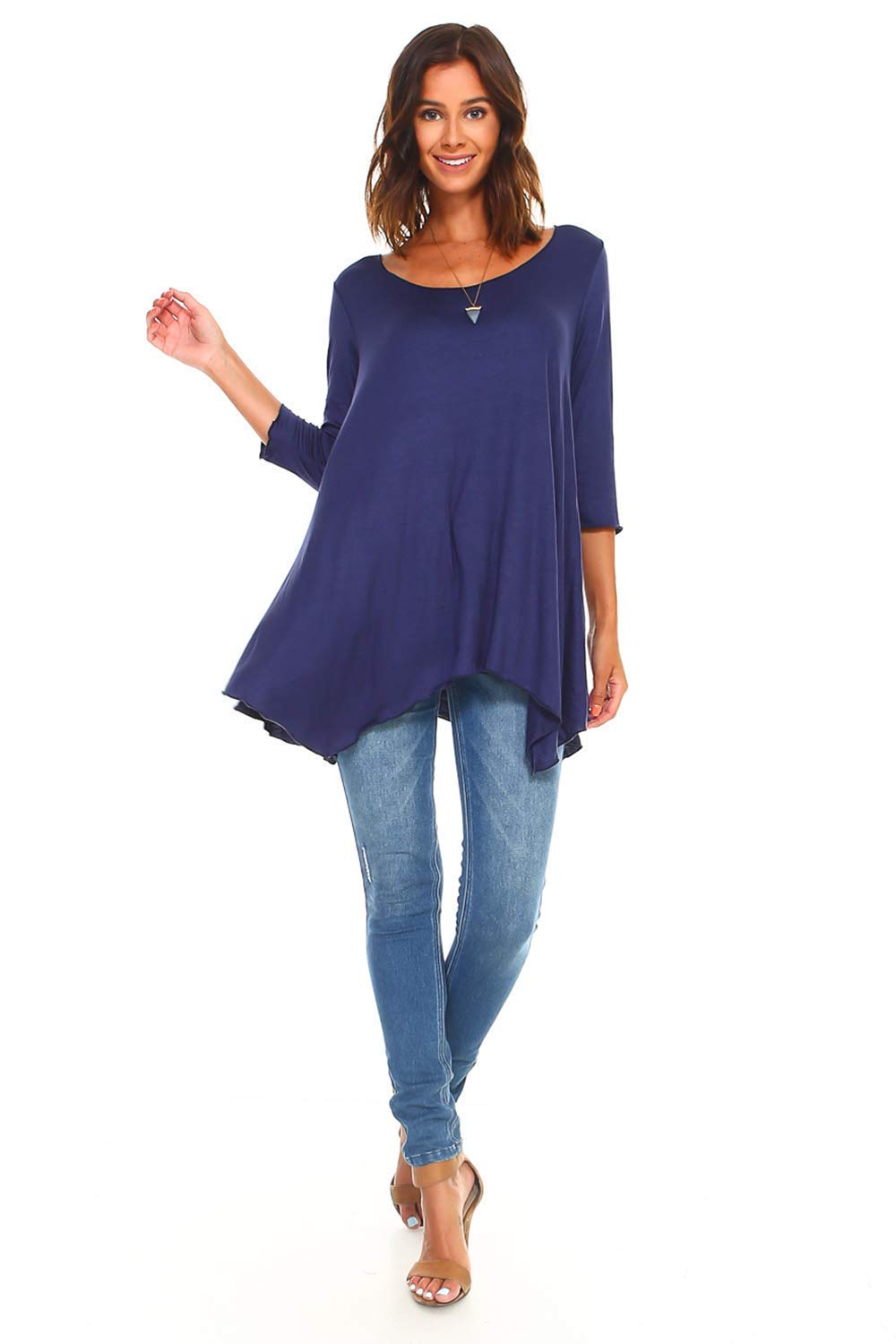 Navy Blue Made in USA Regular and Plus Size Simplicitie Womens 3//4 Sleeve Loose Fit Flare Swing T Shirt Tunic Top