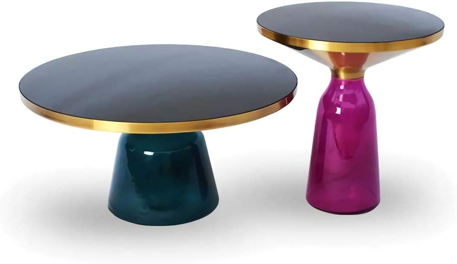 Nieuwe Manierstijl Van ZRRtables 2-delige set glazen tafel, salontafel, modern, woonkamertafel, vaasvorm, bijzettafel, mini salontafel met metalen frame van messing, voor thuis, woonkamer, eetkamer D 3aWtuIT
