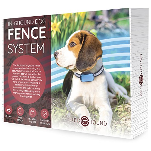 redhound Inground Dog Perimeter Fence to Prevent Pets Escaping - Easy to Set Up Maintain Underground Electric Containment System 2 Shock Collars Medium to Large Dogs