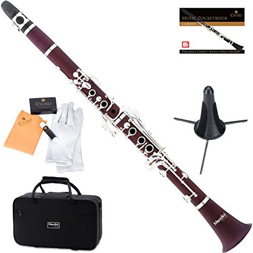 Mendini by Cecilio B Flat Intermediate Rosewood Student Clarinet with