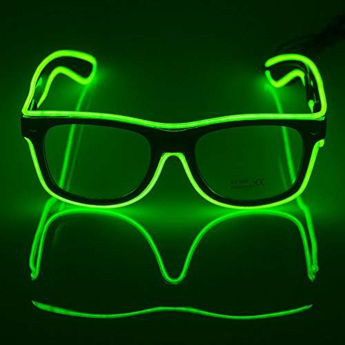 Fronnor El Wire Glow Sun Glasses Led DJ Bright Light Safety Light Up Multicolor Frame Voice control led flashing glasses (Green)