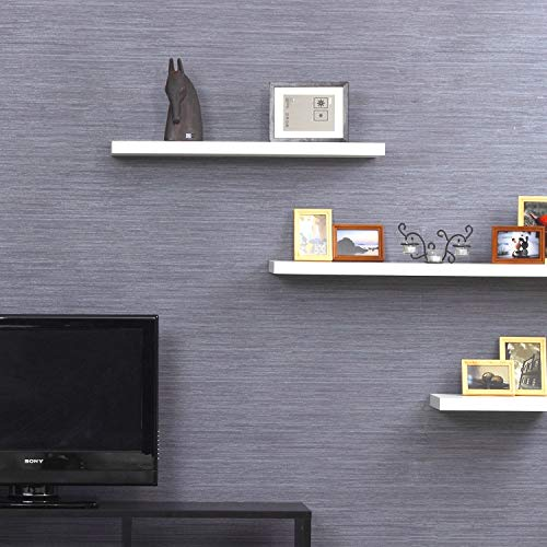aimu Set of 3 Wood Floating Shelves,Wall Mounted Decor Shelf,Home Wall Storage Shelves Come with Invisible Bracket Included,White
