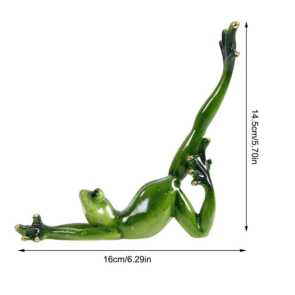 Resin Yoga Frog Figurine Nordic Garden Crafts Decorations Porch Store Animal Ornaments Moral Integrity Green Frog for Home Office Decor Luckycyc Yoga Frog Decoration