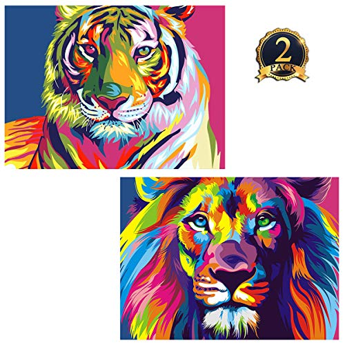 5D Diamond Painting Tiger & Lion Full Drill by Number Kits for Adults Kids, Ginfonr DIY Craft Rhinestone Paint with Diamonds Set Animal Arts Decorations (12x16inch, 2 Pack) ()