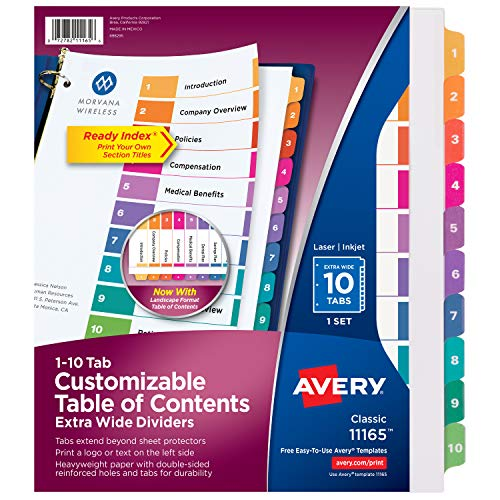 (Avery Ready Index 10-Tab Extra-Wide Dividers, Customizable Table of Contents, Multicolor Tabs, 1 Set (11165))