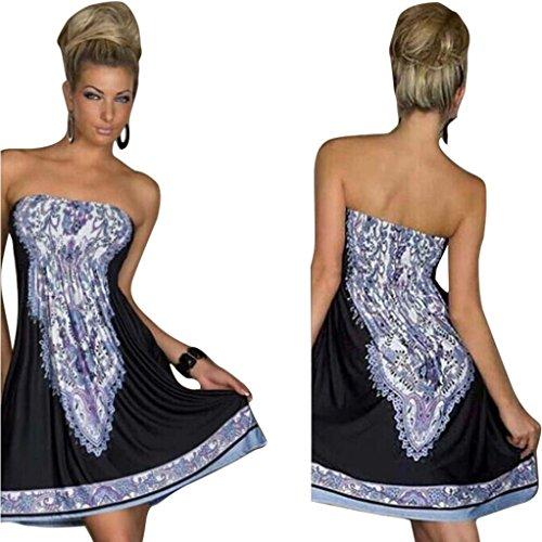 Lowpricenice 1pc Women Summer Dress Wrapped Chest Waist Dress Bohemian Casual (XXL, Black) (Strapless Dress Xxl)