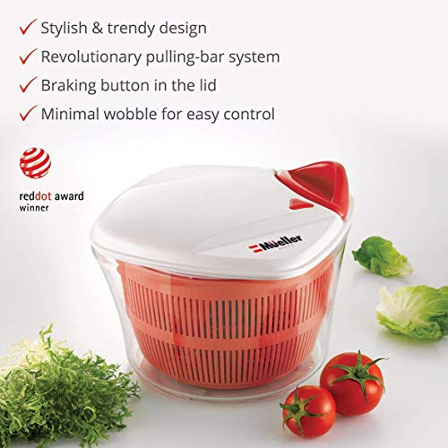 MUELLER Large 5L Salad Spinner Vegetable Washer with Bowl, Anti-Wobble Tech, Lockable Colander Basket and Smart Lock Lid - Lettuce Washer and Dryer - Easy Water Drain System and Compact Storage by Mueller Austria (Image #1)