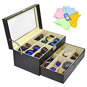 3 Gifts for Free! ADTL 12 Grids Double-Layer Black PU Leather Organizer Sunglass Eyewear Storage Box