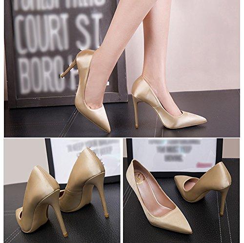talons peu véritable chaussures pointu 32 bouche avec en bien Champagne8cm Couleur taille satin 8cm hauts soie des de Champagne frais Champagne8cm profonde 5wZqZp