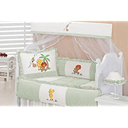 Zoo Themed Green and Ivory Baby Boy 09 Pcs Nursery Crib Bedding Set Embroidered