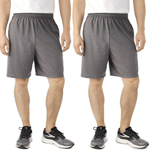 Fruit of the Loom (2 Pack Tagless Mens Shorts, Athletic Shorts for Men, Gym Shorts, Running Shorts, Cotton Shorts, Casual Short for Men with Pockets and 9 Inch Inseam Charcoal Gray ()