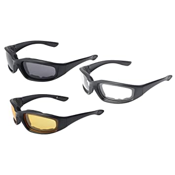 acc56cb2918 Image Unavailable. QKOO 3 Pairs UV Protections Motorcycle Sport Bike Riding  Glasses ...